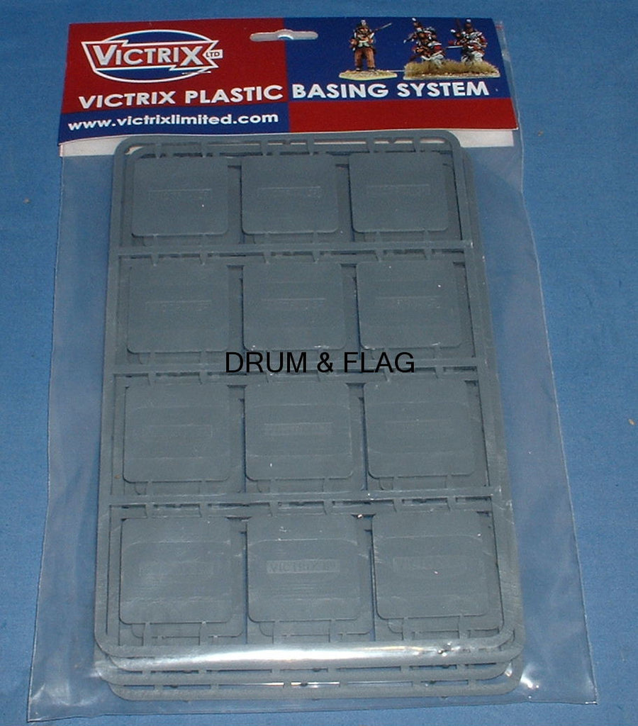 VICTRIX 40mm SQUARE PLASTIC BASES. WARGAMING. LOW PROFILE.
