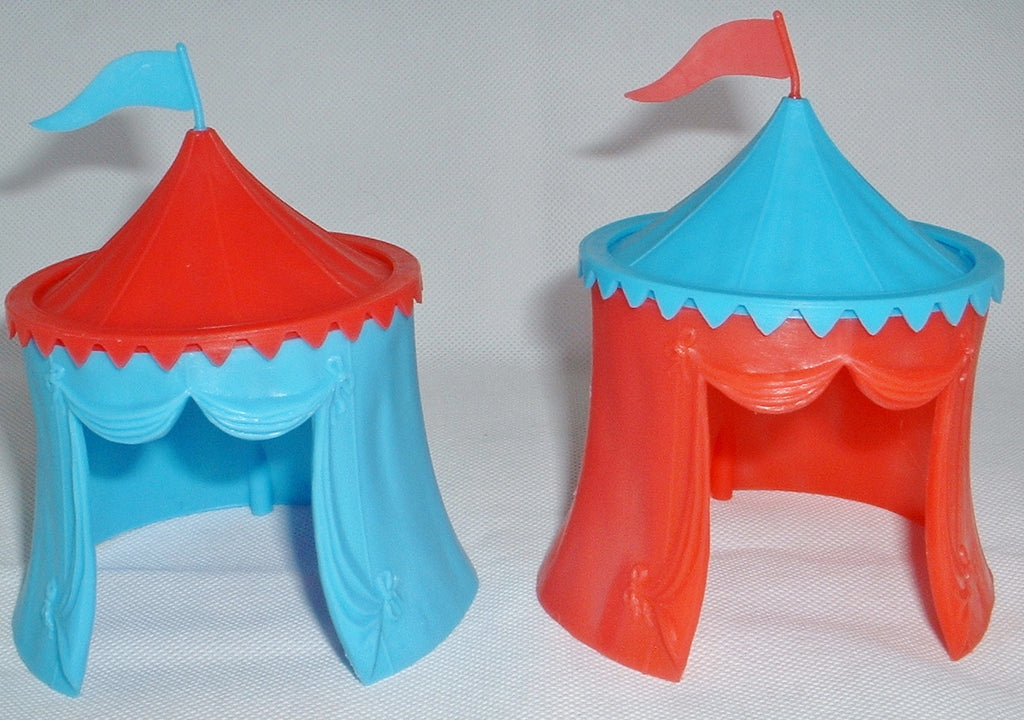 Timpo Knight's Medieval Tents x 2. Jousting Tent. 1/32 Scale. Red & Blue