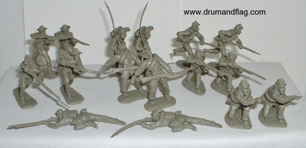 CTS - Confederate Infantry. American Civil War. 16 figures in 8 poses. 1/32 scale plastic.