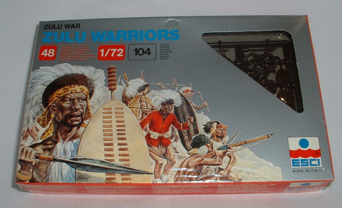 ESCI #213 - ZULU WARRIORS - 48 FIGURES / 104 PIECES. 1:72 SCALE. Sealed box. Vintage
