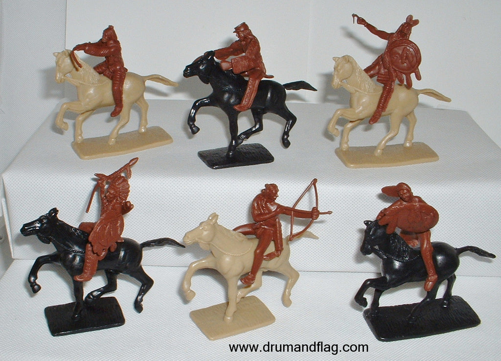 CTS - Sioux.  Native American Plains Indians. 6 figures in 6 mounted poses. 1/32 scale (54mm) plastic.