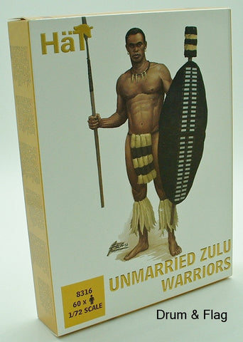 HaT 8316 Unmarried Zulu Warriors 1/72 scale Zulus x 60
