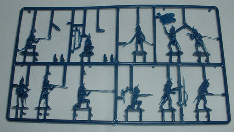 WATERLOO 1815 AP041 NAPOLEONIC FRENCH FOOT DRAGOONS PARTIAL SPRUE. 1/72. 11 FIGURES. Blue