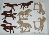 WESTON TOY CO MOUNTED MEXICAN BANDITS 8 FIGURES in 8 POSES 1/32 SCALE.