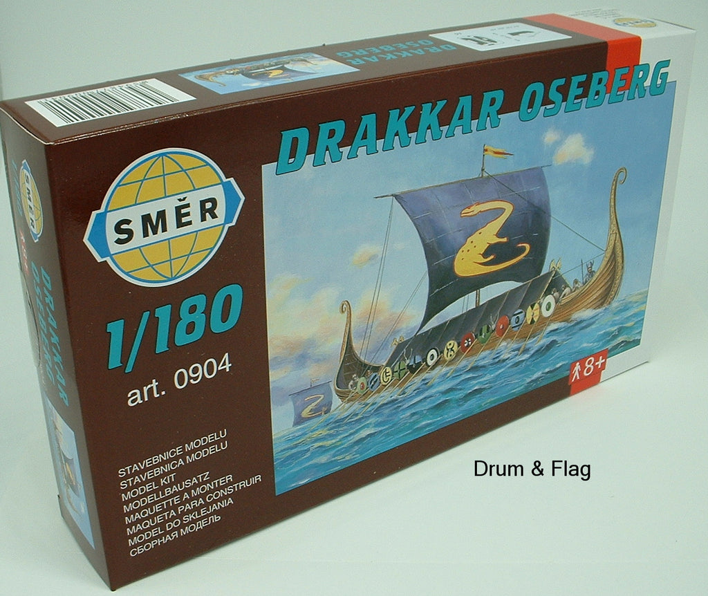 SMER 904 - DRAKKAR OSEBERG - VIKING SHIP. 1:180 SCALE PLASTIC KIT. 127mm LONG