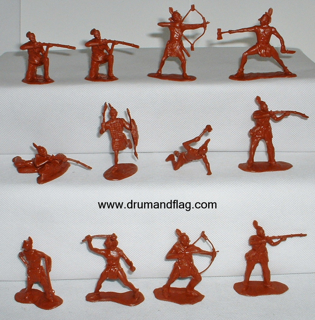 CTS - Mohawks.  Native American Woodland Indians. 12 figures in 10 poses. 1/32 scale (54mm) plastic.