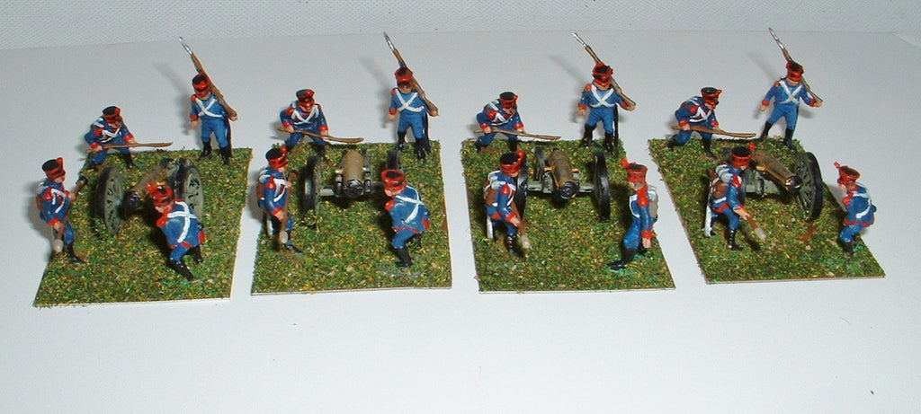 Airfix Napoleonic French Artillery 4 Cannon Battery - Painted - 1/72 Scale. Used.