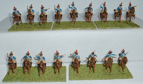 Spanish Dragoons Regiment Reyna x 17 - Painted - 1/72 Scale. Used. Italeri.