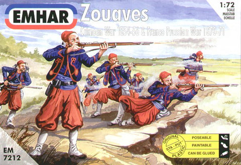 Partial set of EMHAR 7212 FRENCH ZOUAVES. FRANCO-PRUSSIAN WAR. CRIMEAN WAR. ACW 1:72 SCALE. Used