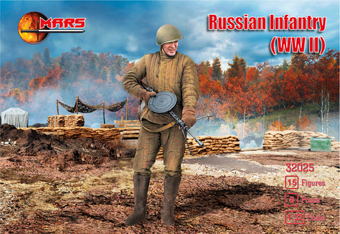 Mars 32025. Russian Infantry WWII. Plastic 1/32 Scale Figures