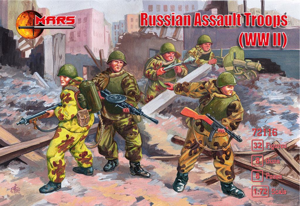 Mars 72116. Russian Assault Troops WWII. Plastic 1/72 Scale Figures