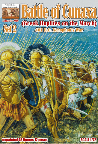 Linear-A 019 Greek Hoplites on the March - Battle of Cunaxa - Xenophon's War Set #2. 1/72 Scale.