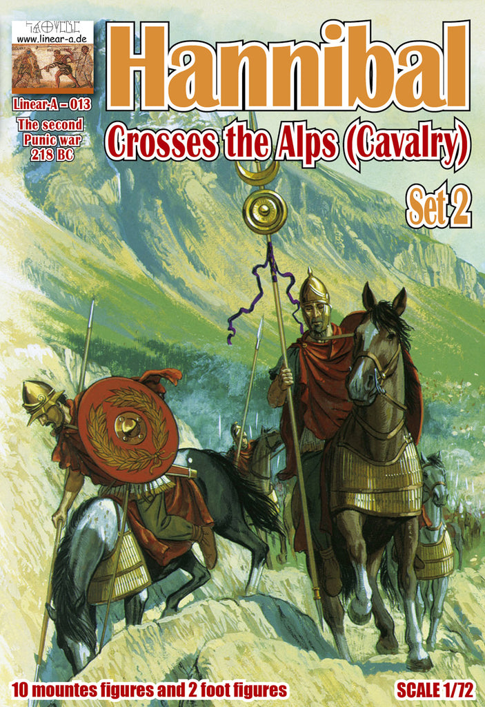 Linear-A 013 Hannibal Crosses the Alps Set 2. Cavalry. 2nd Punic War. Carthaginians. 1/72 scale.