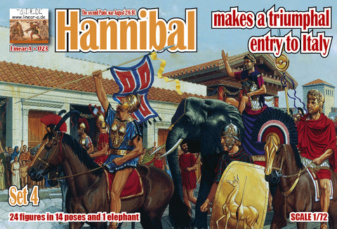 Linear-A 023 Hannibal Makes a Triumphal Entry to Italy. 2nd Punic War. Carthaginians. 1/72 scale.