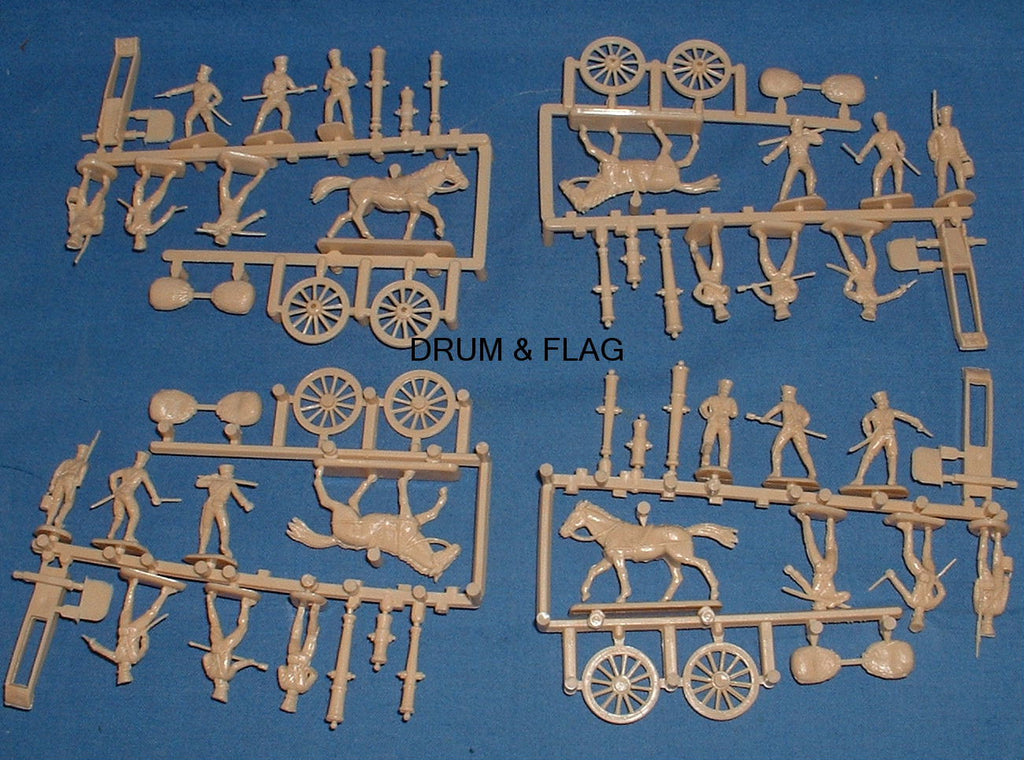 HAT 8007 NAPOLEONIC PRUSSIAN ARTILLERY 1/72 SCALE. 4 CANNONS 24 CREW 4 HORSES. GENERIC BOX