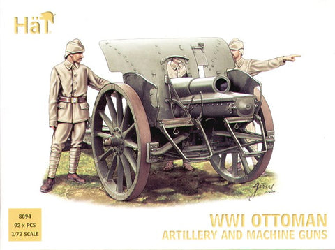 HAT 8094 WWI OTTOMAN TURKISH ARTILLERY & MACHINE GUNS - 1/72 SCALE PLASTIC FIGURES