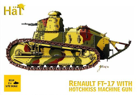 HAT 8114 RENAULT FT-17 with Hotchkiss Machine Gun. WW1 TANK 1/72 SCALE. 2 TANKS