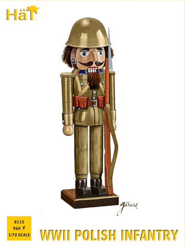 HAT 8115 WW2 POLISH INFANTRY. 1/72 SCALE UNPAINTED PLASTIC FIGURES. Restock