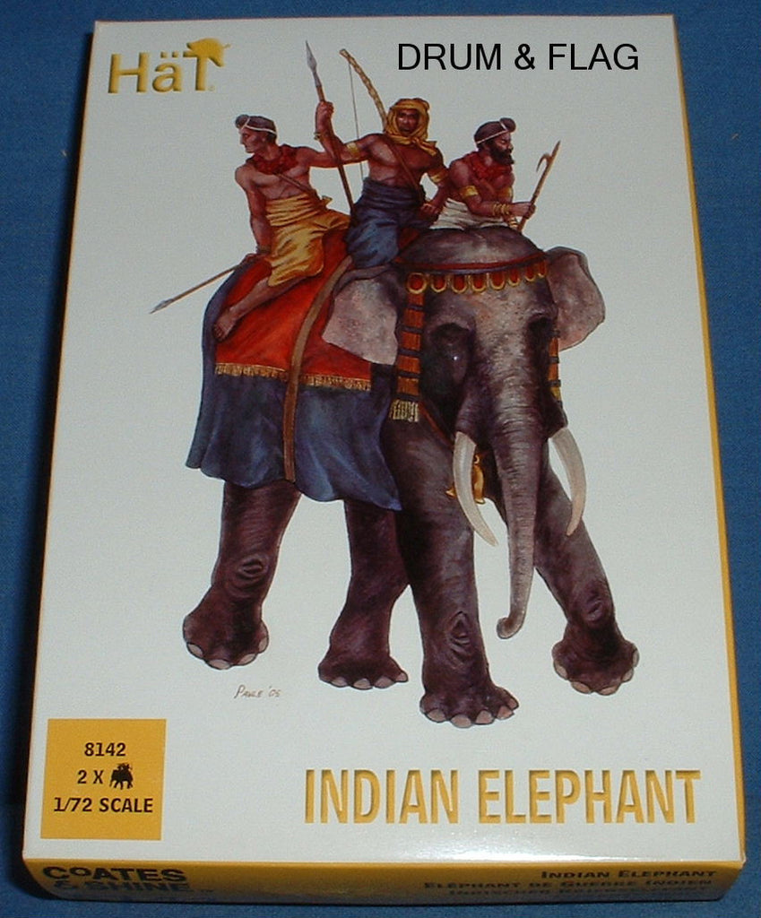 HAT 8142. INDIAN ELEPHANTS. 1/72 SCALE UNPAINTED PLASTIC