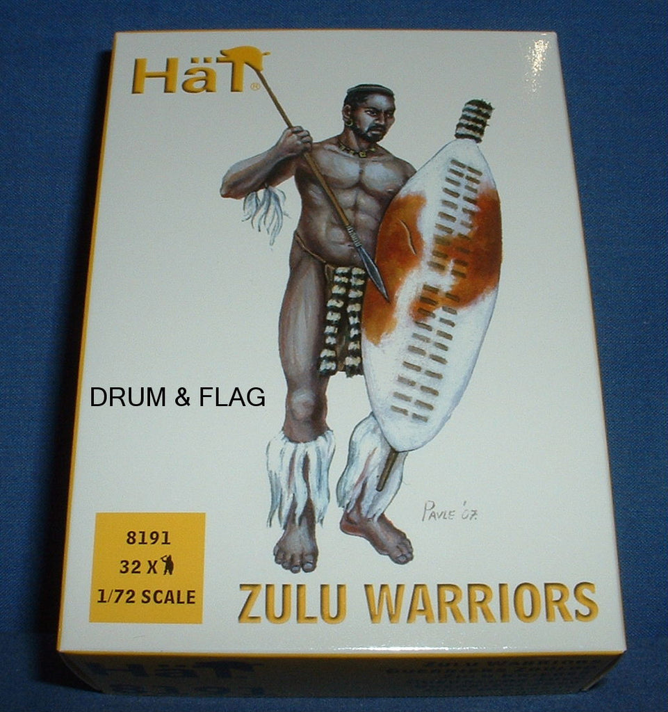 HAT 8191. ZULU WARRIORS. ZULUS. 1/72 SCALE. 32 FIGURES