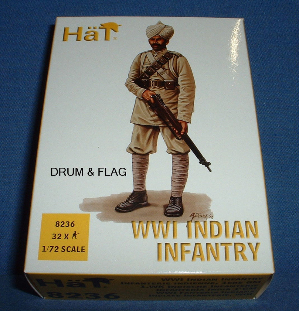 HAT 8236. WWI INDIAN INFANTRY. 1/72 SCALE. 32 FIGURES