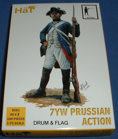 HAT 8281 PRUSSIAN INFANTRY ACTION. SEVEN YEARS WAR. 1/72 SCALE. 40 FIGURES