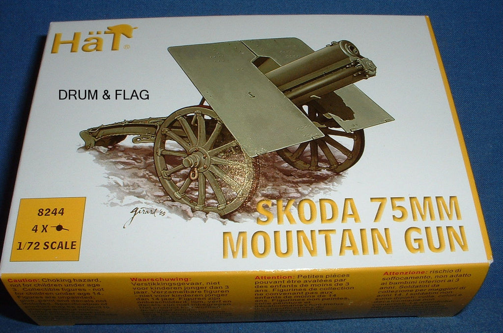 HAT 8244 SKODA 75MM MOUNTAIN GUN. 1/72 SCALE