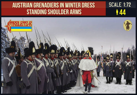 Strelets 206 Napoleonic Austrian Grenadiers Shoulder Arms (Winter). 1/72 Scale