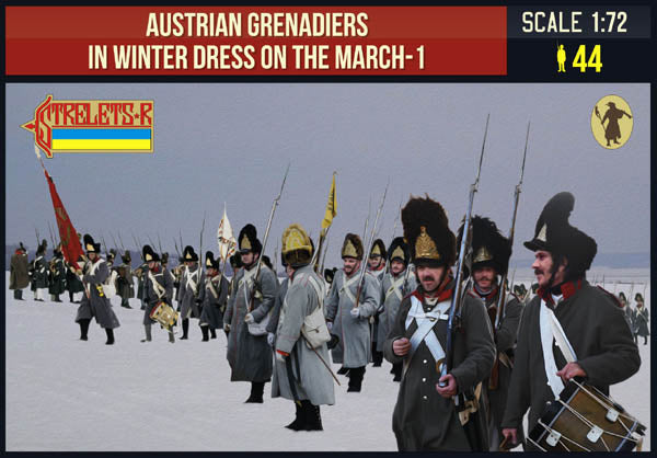 Strelets 209 Napoleonic Austrian Grenadiers on the March (Winter). 1/72 Scale