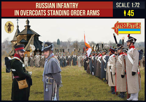 Strelets 219 Napoleonic Russian Infantry in Overcoats Order Arms. 1/72 Scale