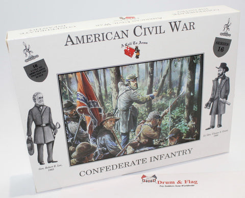 A CALL TO ARMS #16 CONFEDERATE INFANTRY. 1/32 SCALE CIVIL WAR INFANTRY - UNPAINTED