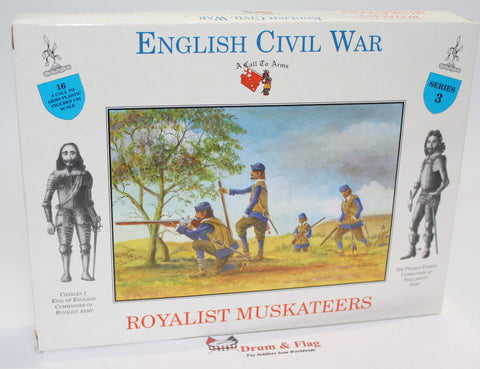 A CALL TO ARMS #3. ROYALIST MUSKETEERS. ECW. 1/32 SCALE. ENGLISH CIVIL WAR