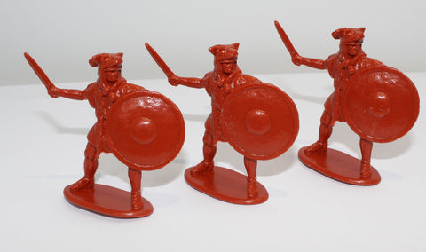 HaT - ROMAN VELITES X 3 - PUNIC WARS - 54MM - 1/32 SCALE. BRICK RED PLASTIC