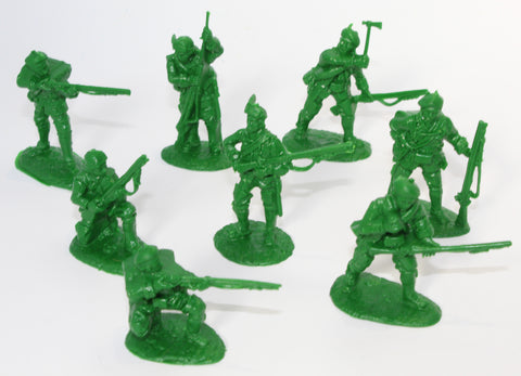 Bagged - ARMIES IN PLASTIC - ROGER'S RANGERS x 8 - FRENCH & INDIAN WAR - 1/32 SCALE. Green Plastic