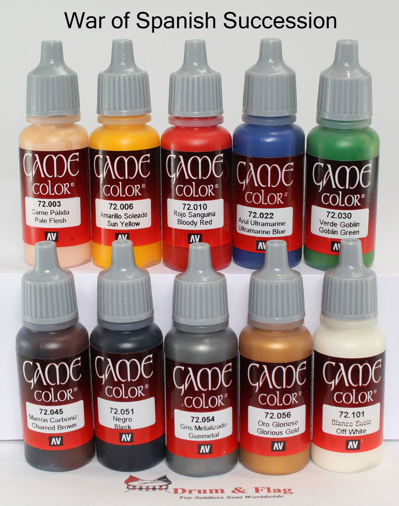 VALLEJO GAME COLOR PAINT - WAR OF SPANISH SUCCESSION - 10 BOTTLE SET - WATER BASED ACRYLIC 17ml