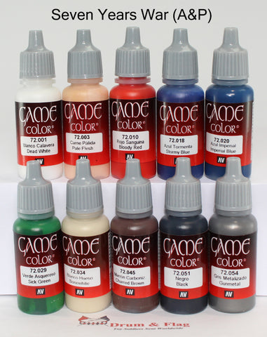 VALLEJO GAME COLOR PAINT - SEVEN YEARS WAR (A&P) - 10 BOTTLE SET - WATER BASED ACRYLIC 17ml