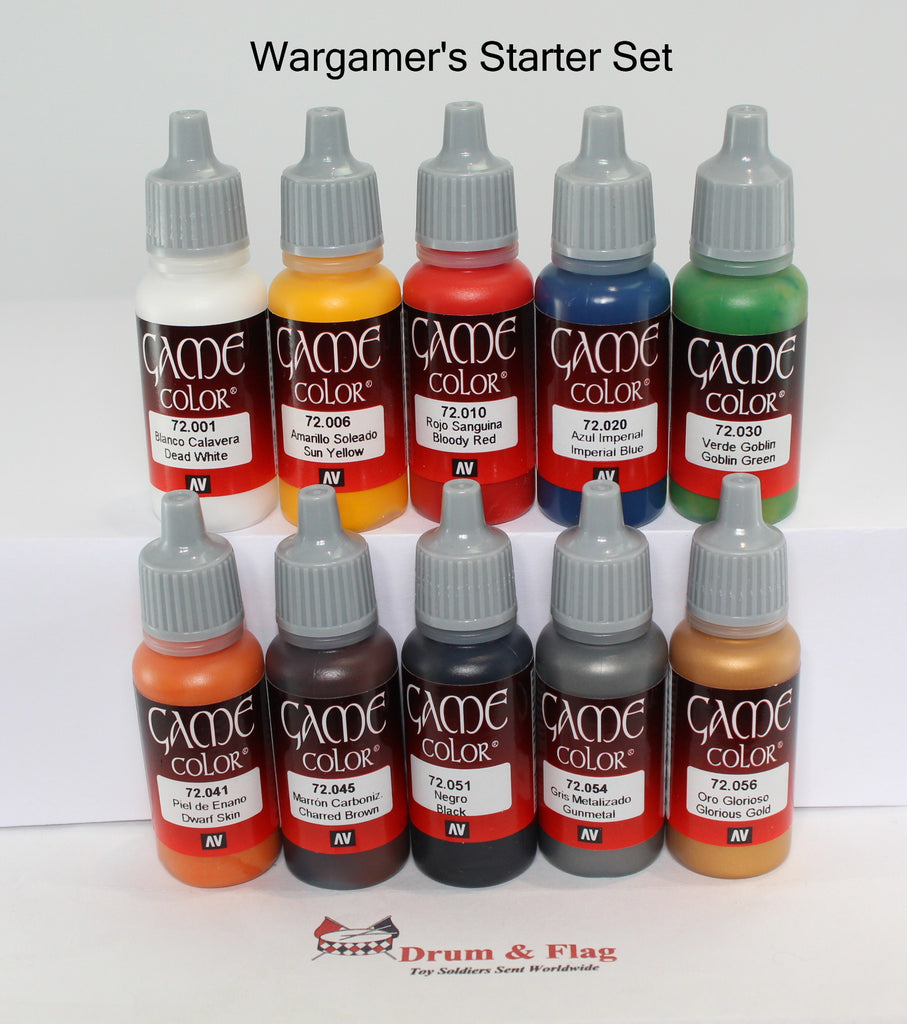 VALLEJO GAME COLOR PAINT - WARGAMER'S STARTER SET  - 10 BOTTLE SET - WATER BASED ACRYLIC 17ml PAINTS