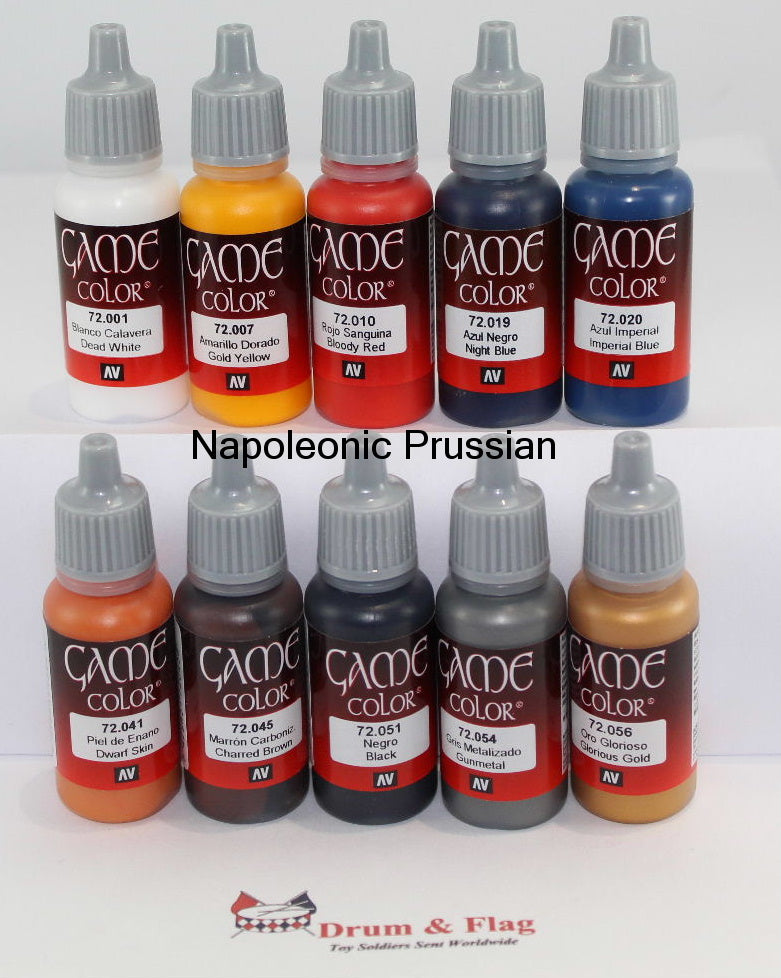 VALLEJO GAME COLOR PAINT - NAPOLEONIC PRUSSIANS - 10 BOTTLE SET - WATER BASED ACRYLIC 17ml