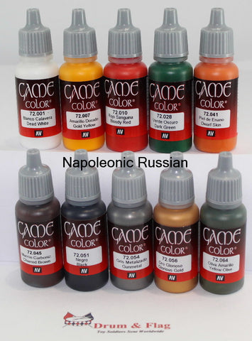VALLEJO GAME COLOR PAINT - NAPOLEONIC RUSSIANS - 10 BOTTLE SET - WATER BASED ACRYLIC 17ml