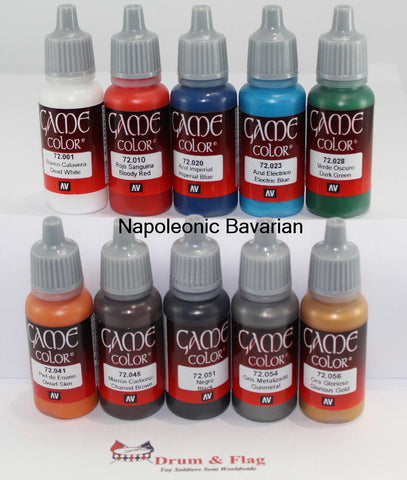 VALLEJO GAME COLOR PAINT - NAPOLEONIC BAVARIANS - 10 BOTTLE SET - WATER BASED ACRYLIC 17ml