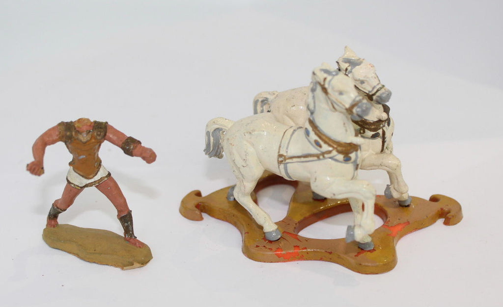 Britains Ltd. Roman Chariot Horses & Charioteer Only. 1/32 Scale Plastic. Used. (Lot #D)