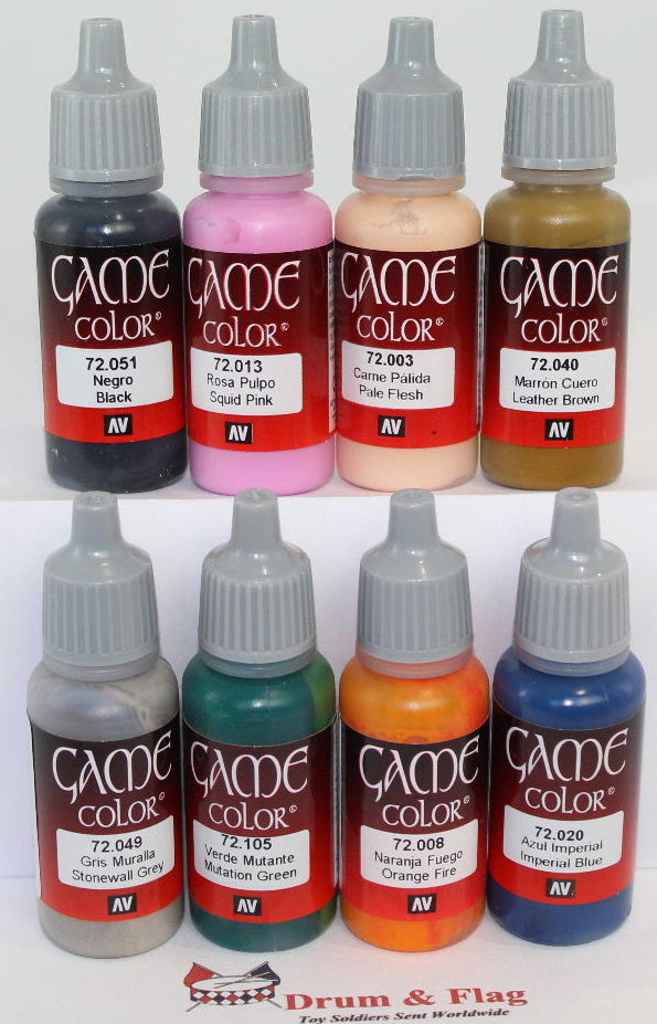VALLEJO GAME COLOR PAINTS - ANY 8 OF YOUR CHOICE - WATER BASED ACRYLIC 17ml