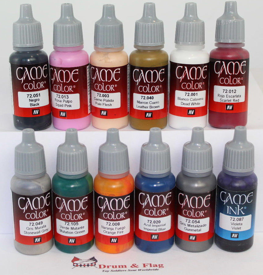 VALLEJO GAME COLOR PAINT - ANY 12 OF YOUR CHOICE - WATER BASED ACRYLIC PAINTS