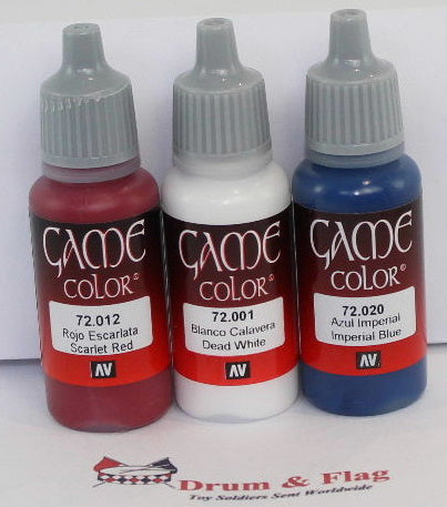VALLEJO GAME COLOR ACRYLIC PAINTS ANY 3 OF YOUR CHOICE