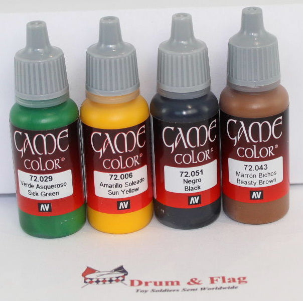 VALLEJO GAME COLOR PAINTS - ANY 4 OF YOUR CHOICE - WATER BASED ACRYLIC 17ml
