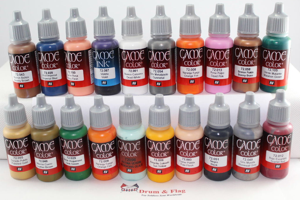 VALLEJO GAME COLOR PAINT - ANY 20 OF YOUR CHOICE - WATER BASED ACRYLIC PAINTS