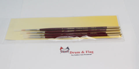 Creative Models Synthetic Brush Set Small. Mixed Size 4 Pack. Sizes 0, 2/0, 5/0 & 10/0.