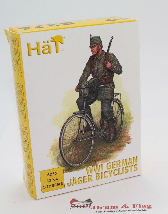HAT 8276 WW2 GERMAN JAEGER BICYCLISTS - 1:72 SCALE UNPAINTED PLASTIC