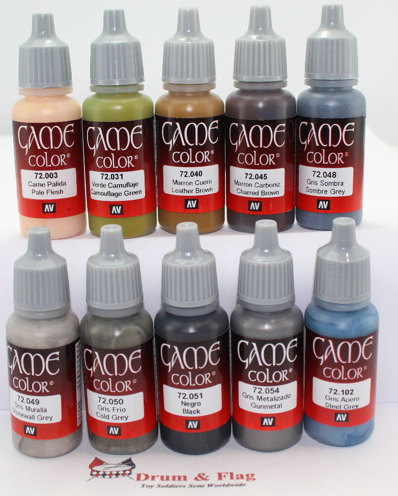 VALLEJO GAME COLOR PAINT - GERMAN INFANTRY - WORLD WAR TWO - WW2 - WWII - 10 BOTTLE SET - WATER BASED ACRYLIC 17ml PAINTS