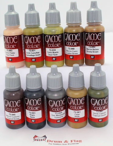 VALLEJO GAME COLOR PAINT - BRITISH INFANTRY - WORLD WAR TWO - WW2 - WWII - 10 BOTTLE SET - WATER BASED ACRYLIC 17ml PAINTS
